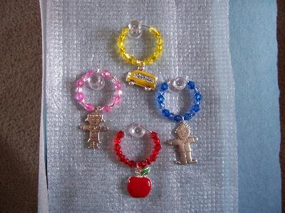 Set of 4 School Teacher Bus Driver Wine Glass Charms