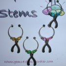 4 Goldtone Wishbone Wine Glass Charms Beverage Markers