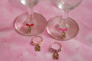 4 Goldtone Love Bridal Party Wedding Love Wine Charms Markers