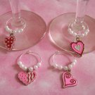 4 Valentine's Day Pink Red Heart Wine Charms Markers