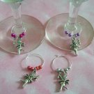 4 Valentine's Day Silvertoned Cupid Wine Charms Markers-Metalic Beads