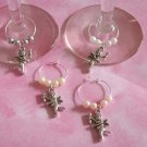 4 Valentine's Day Silvertoned Cupid Wine Charms Markers-Pearl Beads