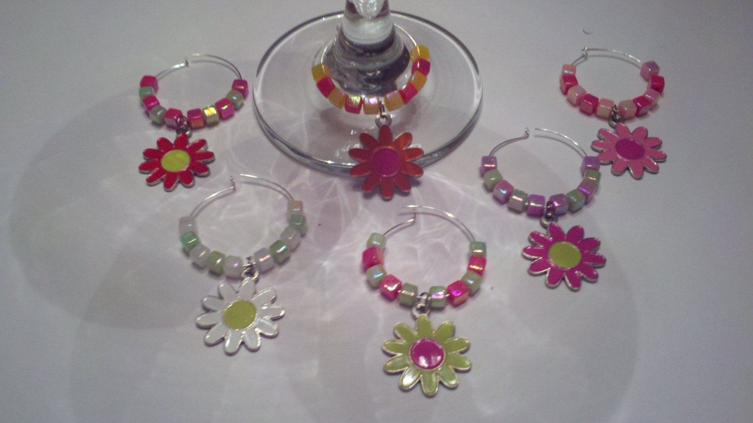 Crazy Daisy 6 Wine Glass Charms Beverage Markers