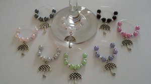 Spring Shower Umbrella Wine Glass Charms, Set of 6----Baby or Bridal Shower