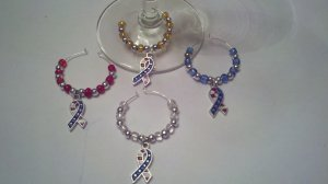 Gems4Stems: Patriotic Ribbon Red White and Blue Wine Glass Charms