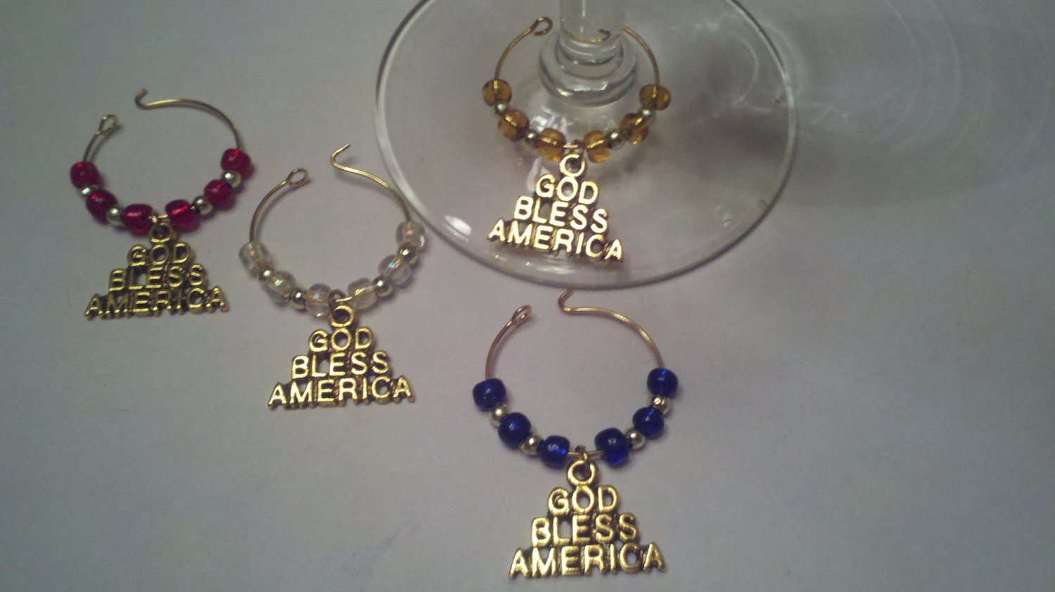 God Bless America Gold Tone Wine Glass Charms Beverage Markers