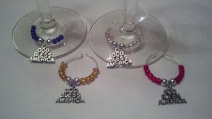 God Bless America Silver Wine Glass Charm Beverage Markers
