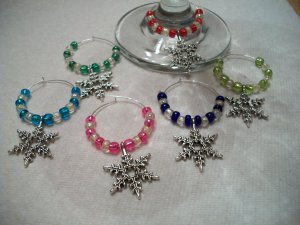 Set of 6 Winter Snowflakes Wine Glass Charms