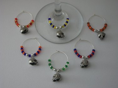 Gems 4 Stem Gems4Stems 6 Football Helmet Wine Glass Charms Beverage Markers
