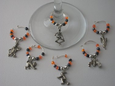 Gems 4 Stem Gems4Stems 6 Halloween Wine Glass Charms Beverage Markers Witch Bat
