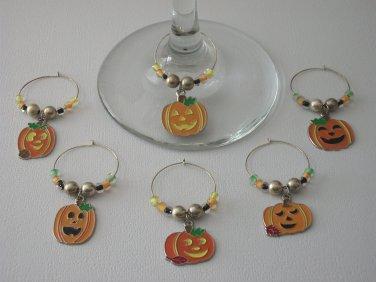 Gems 4 Stem Gems4Stems 6 Halloween Pumpkin Jackolantern Wine Glass Charms Beverage Markers