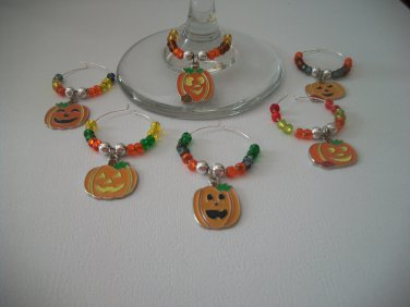 Gems 4 Stem Gems4Stems 6 Halloween Happy Pumpkin Jackolantern Wine Glass Charms Beverage Markers