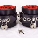 Locking red satin lined ankle cuffs
