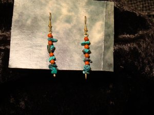 Turquoise & Red Jasper Gold