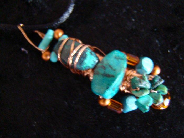 copper & turquoise pendant