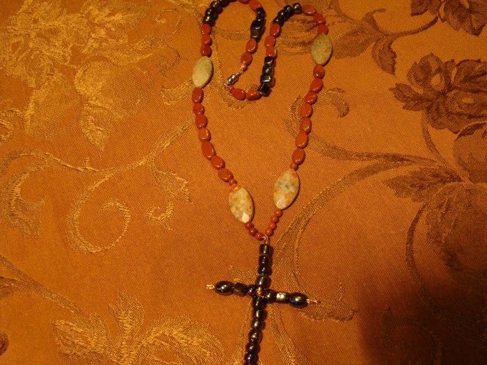jasper & Raku Cross Necklace