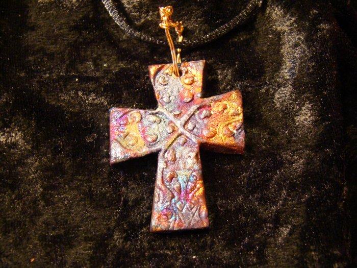 raku cross pendant