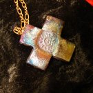 raku cross pendant on copper chain