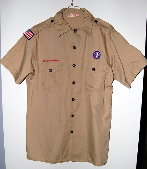 Official Boy Scout Uniform Shirt Adult Medium Used With World Crest