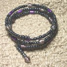 Dark Purple and Black Memory Wire Bracelet