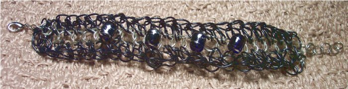 Black and Silver Woven Wire Cuff