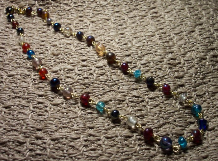 Jewel Tone Beaded Link Necklace
