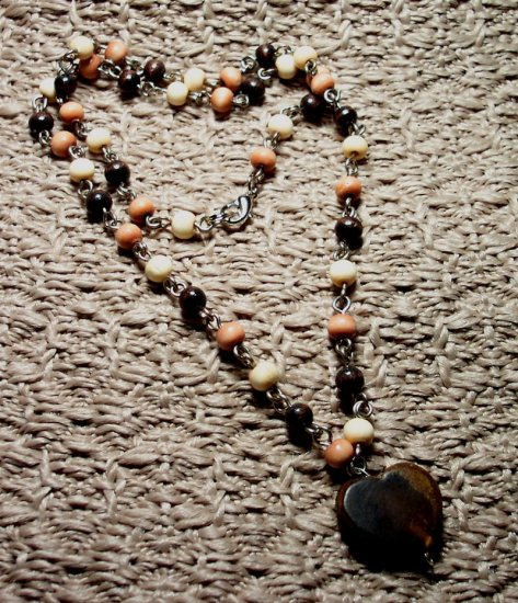 Wooden Linked Bead Necklace