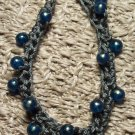 Dark Gray and Blue Crocheted Bracelet