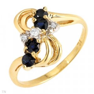 Genuine Diamonds and Sapphire Ring
