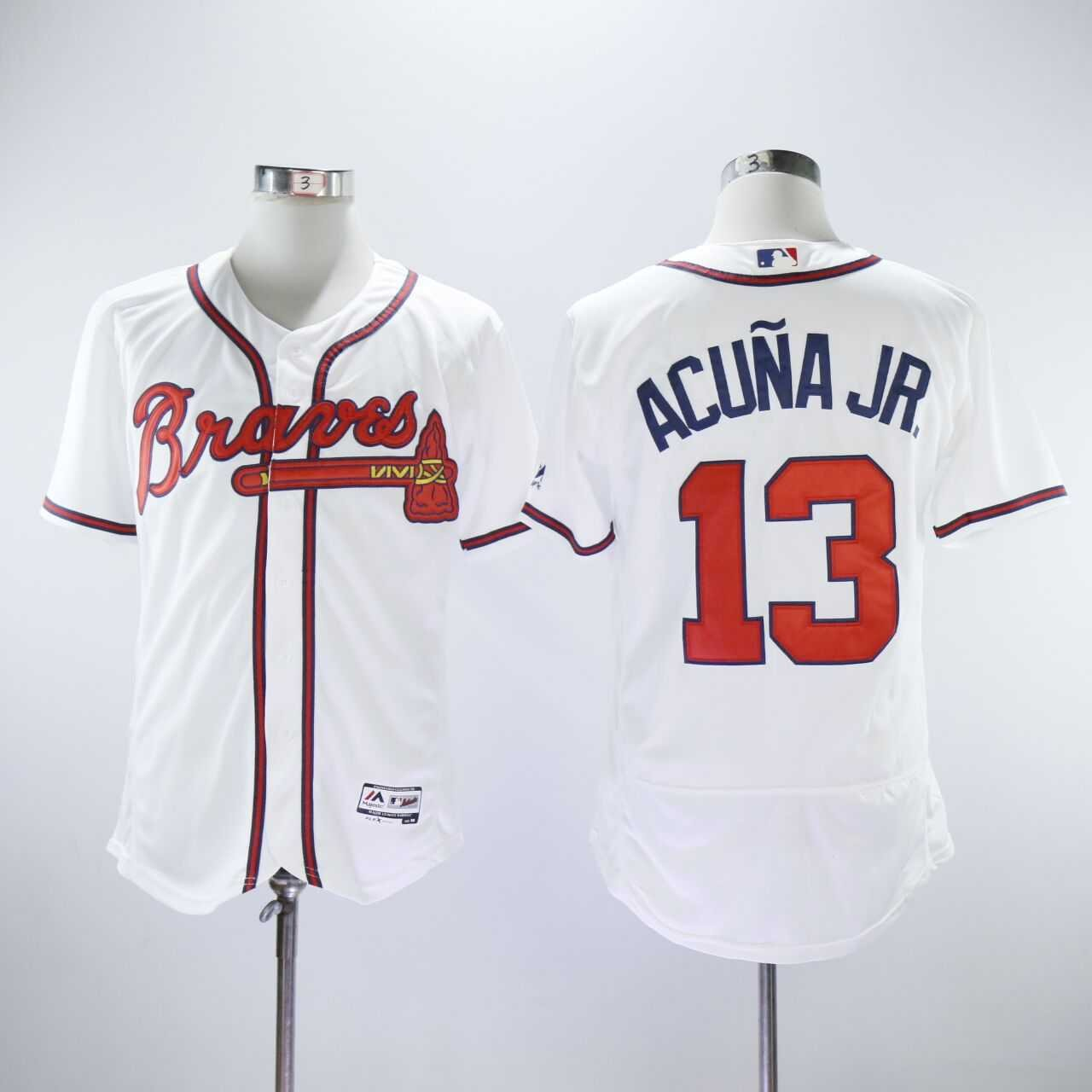 premium selection 7c60c 5dcdd Men's Braves 13 Ronald Acuna Jr. White Embroidered Jersey