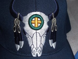 Buffalo Skull with Feather Baseball Style Hat