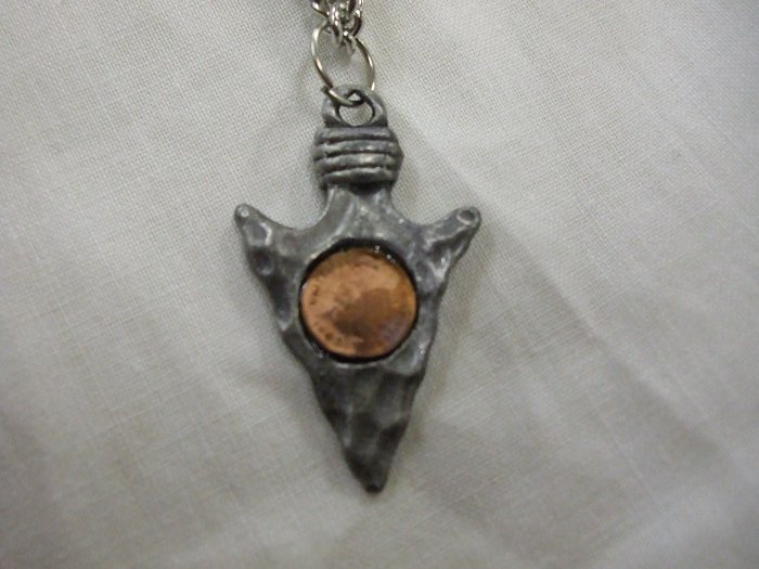 "Pewter Arrowhead with a ""Penny"" Necklace"