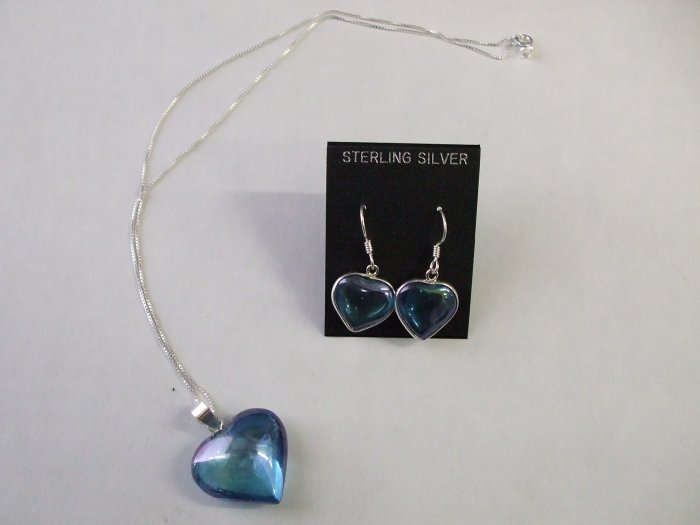 Aqua Aura Heart Necklace and Earring Set