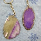 Two Purple Agate Slice Key chains