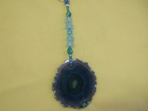 Ceiling Fan Pull Teal Agate Slice Hand Crafted (EP03)