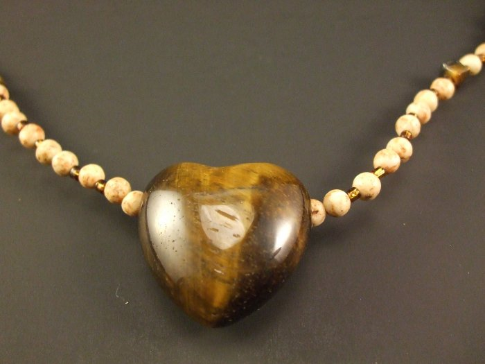 Tigereye Heart Necklace Hand Crafted