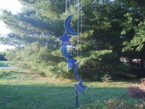 Agate Moon and Stars Wind Chime Blue