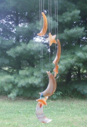 Agate Moon and Stars Wind Chime Light Brown/ Cinnamon