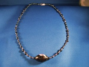 Hematite and Flower Necklace Hand Crafted