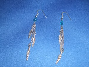 Three Feathers Hand Crafted Earrings