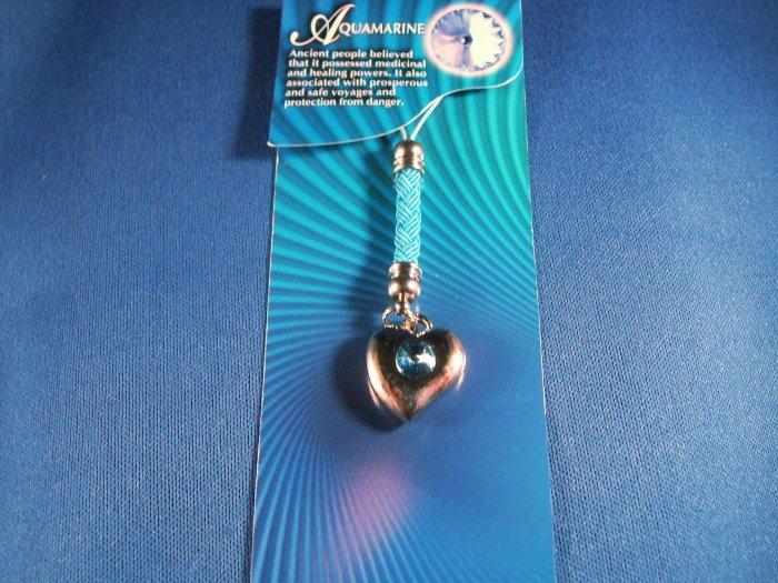 Aquamarine Heart Cell Phone Charm