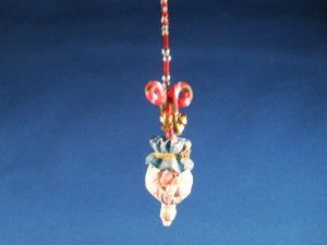 Santa with Candy Canes Fan Pull Hand Crafted