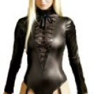 Wet-Look Teddy with Lace Up Front - M/L