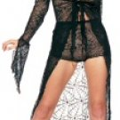 2 Piece Spider Web Lace Tie Front Long Gown/Shorts