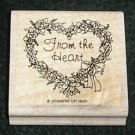 Rubber Stamp Mounted On Wood From The Heart By Stampin' Up! 1993