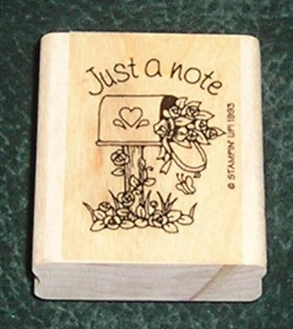 Rubber Stamp Mounted On Wood Just A Note By Stampin' Up! 1993