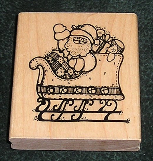 Rubber Stamp Mounted On Wood Santa's Toy Ride By D.O.T.S.
