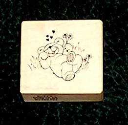 Rubber Stamp Mounted On Wood Bear In Love By PSX 1986