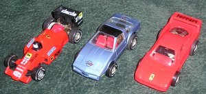 3 Vintage Darla Cars Ferrari, Corvette & Race Car Made In West Germany