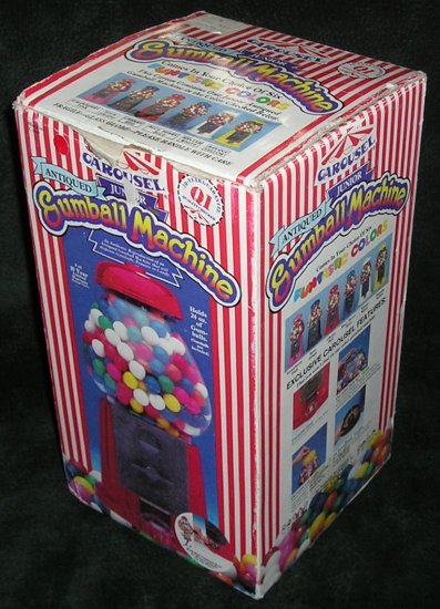 Old 1986 Antiqued Junior Carousel Gumball Machine Cherry Red Model 3000 New Original Box